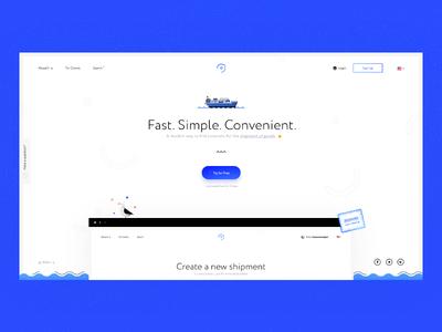 L—E : Homepage ship illustration seagull illustrative style design web blue color
