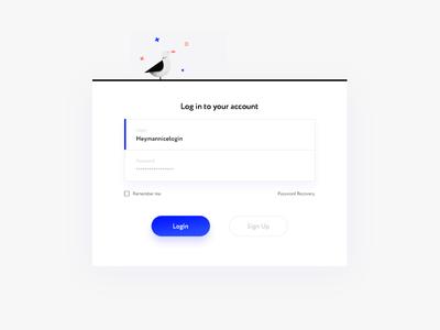 L—E : Login ship illustration seagull illustrative style design web blue color