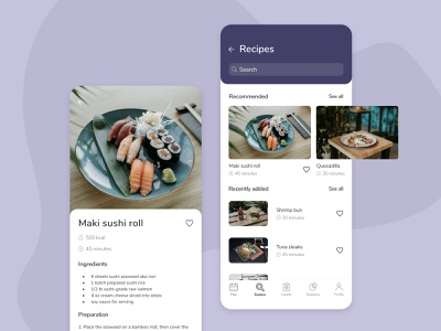 Recipes sushi mobile ui ux design concept selfcare medicine health diet food recipes