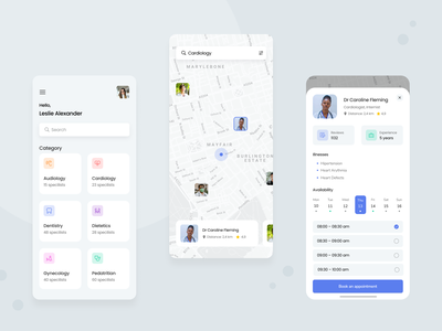 Medicine app doctor appointment appointment booking health medicine app design concept ui ux mobile
