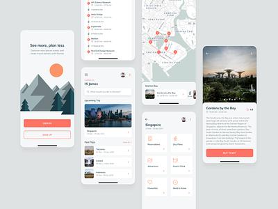 Travel App booking app planner app travel design ui ux mobile concept