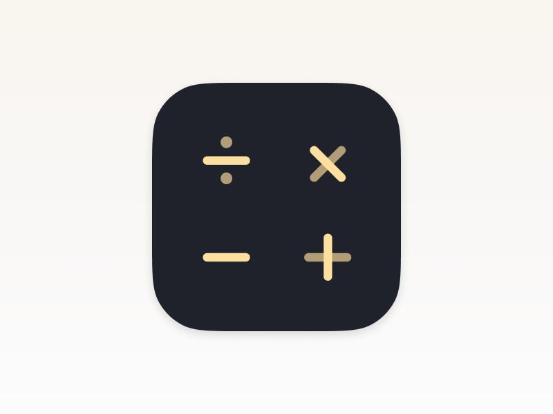 Calcly – iOS Icon Design dark blue beige calculator logo ios icons design branding realistic osx icon iphone icon ios icon ios app store app icon app