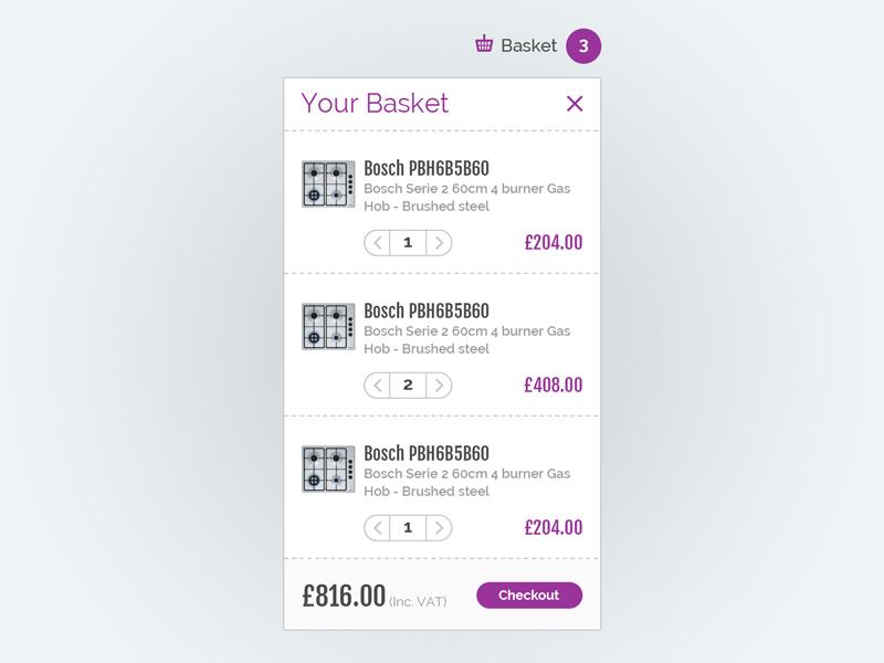 eCommerce Basket Module web design checkout basket cart ecommerce ux ui