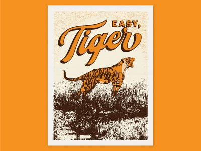 Easy, Tiger tiger king retro halftone illustrator texture illustration