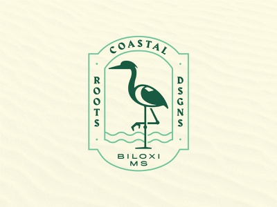 Coastal Roots Designs Badge mississippi logodesign badge design ocean water blue heron harbour crest hidden meaning heron coastal badge illustration logo