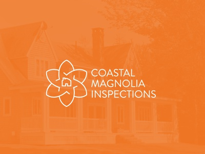Coastal Magnolia Home Inspections mississippi magnolia logo home logo insurance logo brandon grotesque icon intertwined to-do checkmark inspector inspections house home minimal modern design flower magnolia branding logo design branding logo