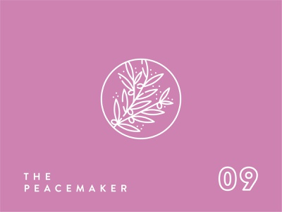Enneagram Icon Series//Type 9 leaf leaves branch olive branch peaceful peacemaker peace 9 type 9 type personality logo icon icon set icon design enneagram icon logo