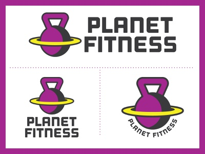 Planet Fitness Rebrand rebrand redesign logodesign gym logo yoga exercise weights kettlebell athletic sporty outage space galaxy workout gym fitness planet fitness planets