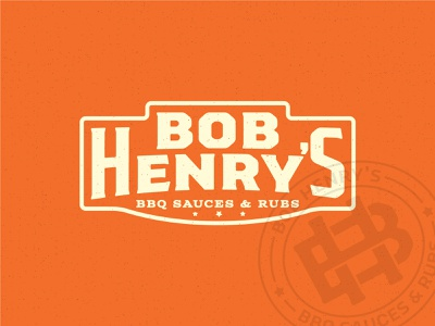 Bob Henry's BBQ Option 2 monogram bh spicy orange restaurant old west western badges seal branding brand sauces barbecue bbq gritty texture logo design logo