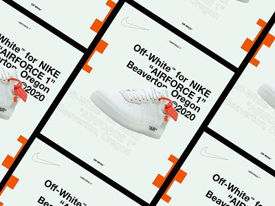 "Off-White™ x NIKE ""AIRFORCE 1"" clean adobe nike off white modern minimal website streetwear freelance contemporary designer concept design user interface ui design ui"