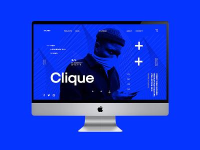 X/Clique UI concept designer graphic design graphic freelance contemporary blue streetwear user interface ui design design ui