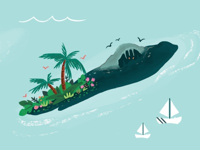 Lil Island water sea ocean boats sail trees palm cave jungle tropical illustration island