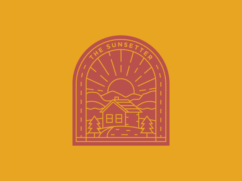The Sunsetter logo badge west virginia outdoors cabin sunset