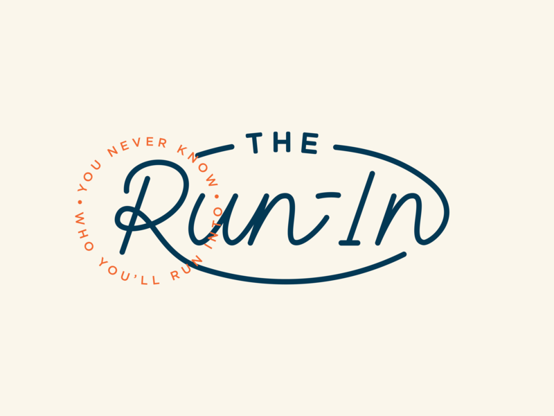 The Run-In monoline script branding logo run in