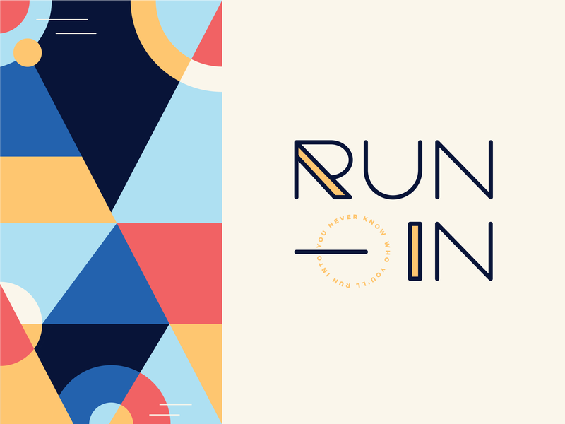 Run-In run branding pattern art color blocking color logo