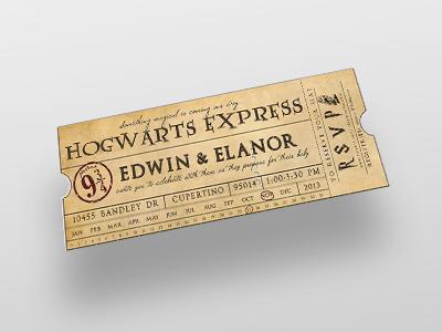 Hogwarts Express Baby Shower Ticket Invite