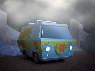 Mystery Machine 2 van thunder scoobydoo scooby scary mystery machine lightning halloween doo childhood 3d