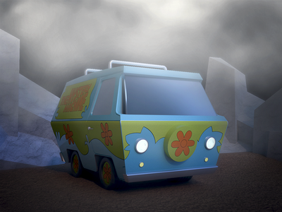 Mystery Machine 2 van thunder scoobydoo scooby scary mystery machine lightning halloween doo childhood 3d