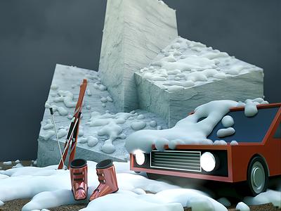Winter Night modeling cartoon 3d night cold winter mountain snow ski car light foggy