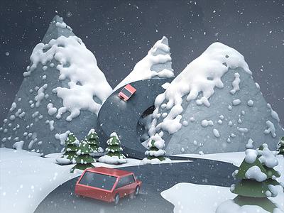 Mountain Road winter snow ski night mountain modeling illustration snowflake c4d trip road 3d