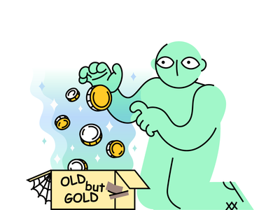 Monetising old content coin money pig vector character game crypto blockchain blog article art illustration ownership