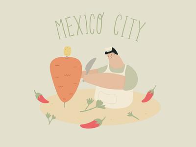 Tacos taquero procreate chiles tortillas pastor illustration mexico city tacos