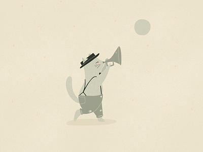 Everybody wants to be a cat aristocats kitty kitten kitties moon trumpet music green animals cat illustration jazzcat jazz cat