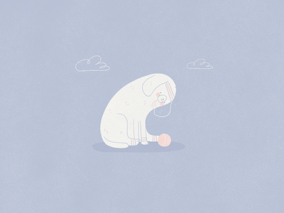 Doggie blue illustration dogs day tennis pup puppy dog