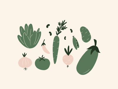 Bromelyā vegetables minimalist illustration minimalist procreate brand illustration vegetables doodle illustration