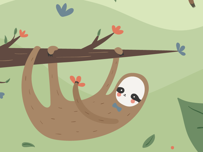 Sloth flowers illustration sloth