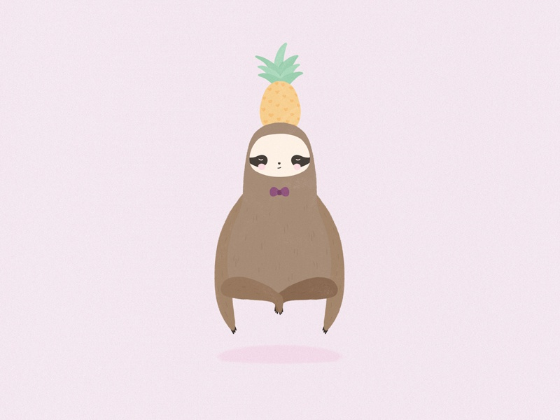Pork Soda pineapple sloth illustration