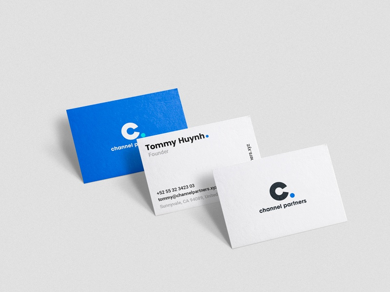 Channel Partners Business Cards paper blue stationery branding business card logo
