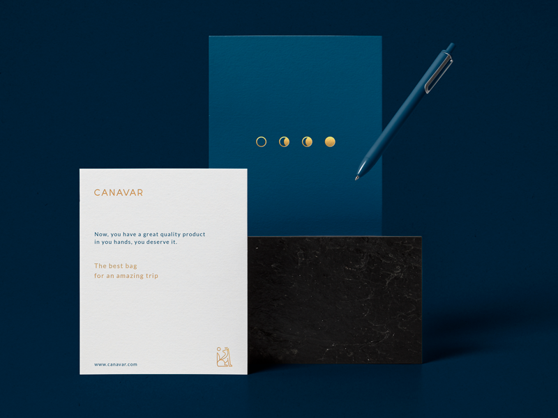 Canavar postal gold foil postal identity paper type branding blue stationery logo