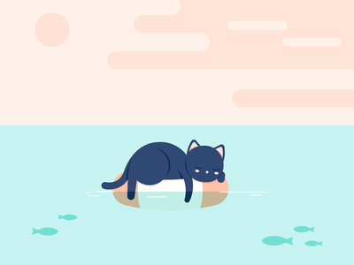 Cat kitty sun clouds lifesaver sea illustration animal cat