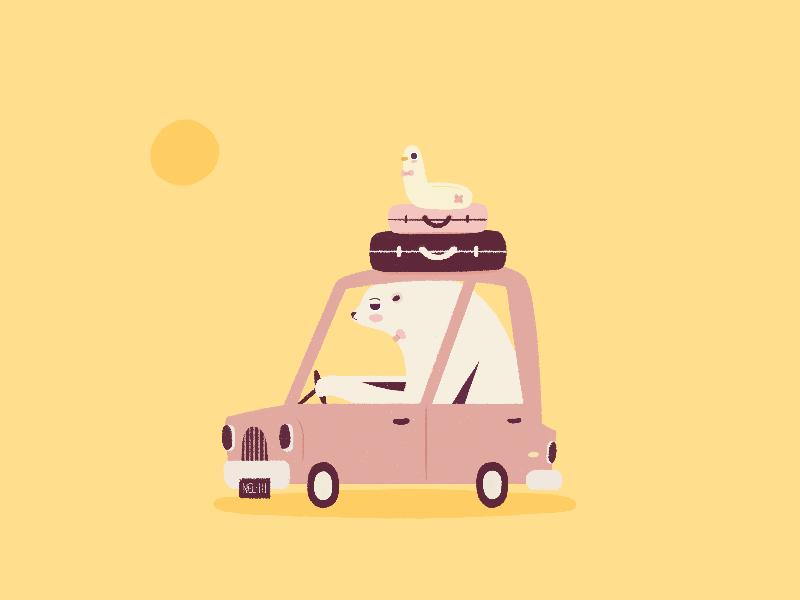 Business Bear doodle sun lifesaver bagage suitcase business bear yellow car bear duck vacations illustration