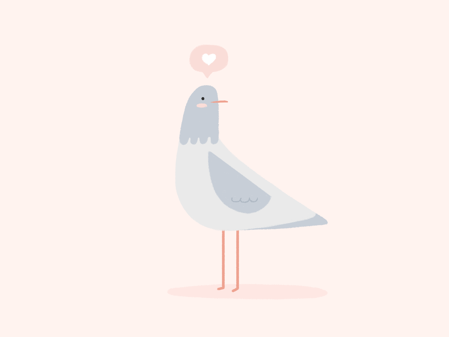 Little Pigeon doddle bird animal lovers love heart pastel color palette illustration animal illustration pigeon cute animals animals cute