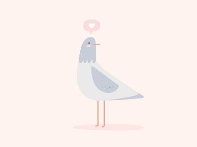 Little Pigeon doddle bird animal lovers love heart pastel color palette illustration animal illustration pigeon cute animals animals cute