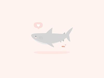 Baby Shark digital love heart pink color pastel animal cute doodle illustration shark