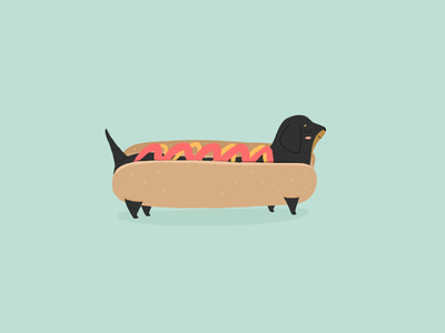 Archie the dachshund doggie dog food food green illustration cute hotdog dachshund puppy dog