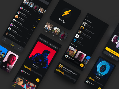 Social Music App connect simple yellow minimal friends music dark mode ui ios design card app iphone ux