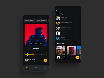 Profile Social Music App simple yellow minimal friends app dark mode music design profile card ux iphone ui