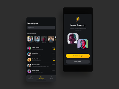 Messages Social Music App messages chat match connection dark mode iphone design card ios app ux ui