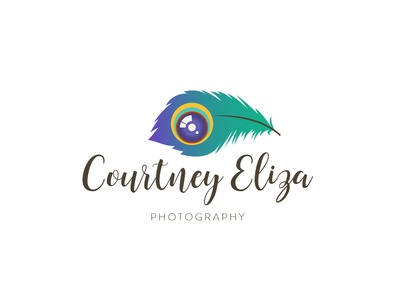 Courtney Eliza Photography camera lens feather peacock logo design photography logo