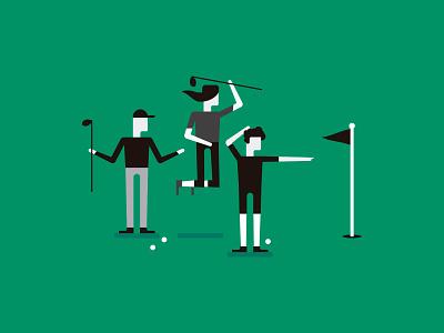 Golfing 🏌️ illustration illustrator vector sport flat green golf ball golf club golf