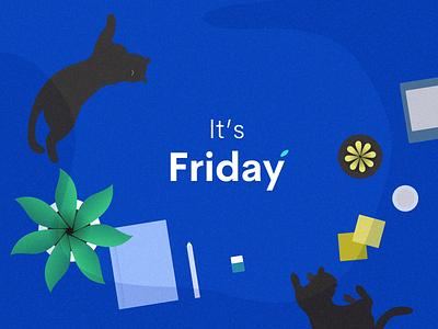 Friday Mood plant relax flat lay stationary desk cat friday illustration