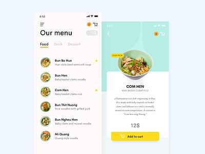 Daily Ui 43   Food Drink Menu minimal order viet nam viet menu food challenge ui daily ui