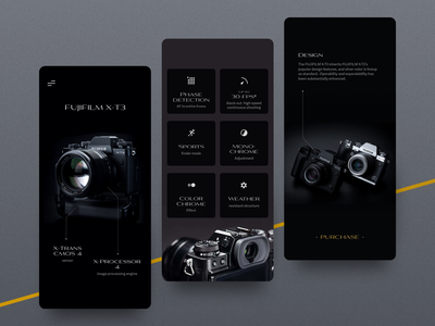 Daily Ui 95: Product Tour dark mode product tour ui ux fujifilm camera flat sketch app interface minimal design challenge ui daily ui
