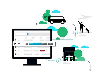 Fleet Management illustration drop off pickup operator dashboard taxi fleet