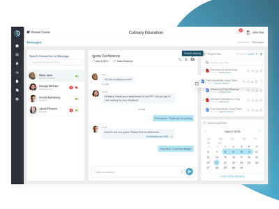 Dashboard - Message   Conference elearning chat student conference message ux ui dashboad