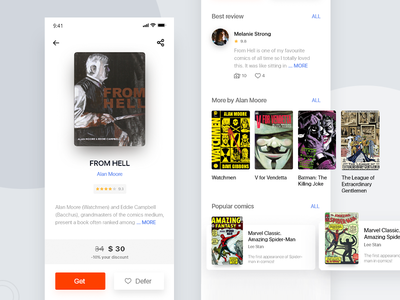 The concept of the app bookstore, page card books